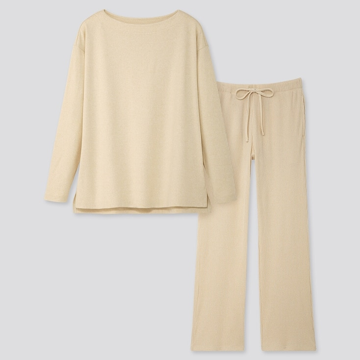 WOMEN SOFT KNITTED JERSEY LONG-SLEEVE SET, NATURAL, large
