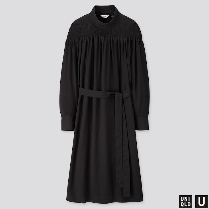 WOMEN U SHIRRING MOCK NECK LONG-SLEEVE DRESS, BLACK, large
