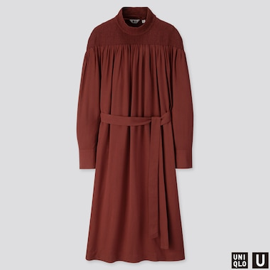 WOMEN U SHIRRING MOCK NECK LONG-SLEEVE DRESS, DARK BROWN, medium
