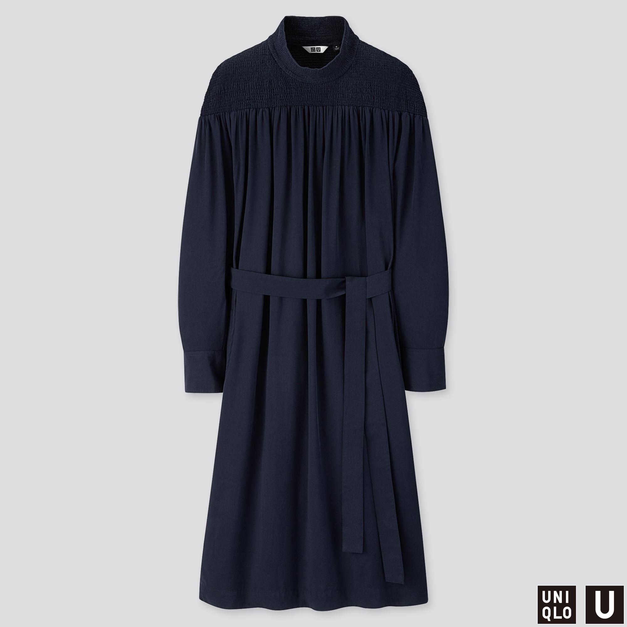 WOMEN U SHIRRING MOCK NECK LONG-SLEEVE DRESS