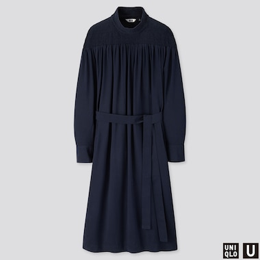 WOMEN U SHIRRING MOCK NECK LONG-SLEEVE DRESS, BLUE, medium