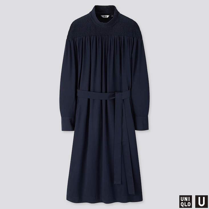 Women U Shirring Mock Neck Long-sleeve Dress, Blue, Large