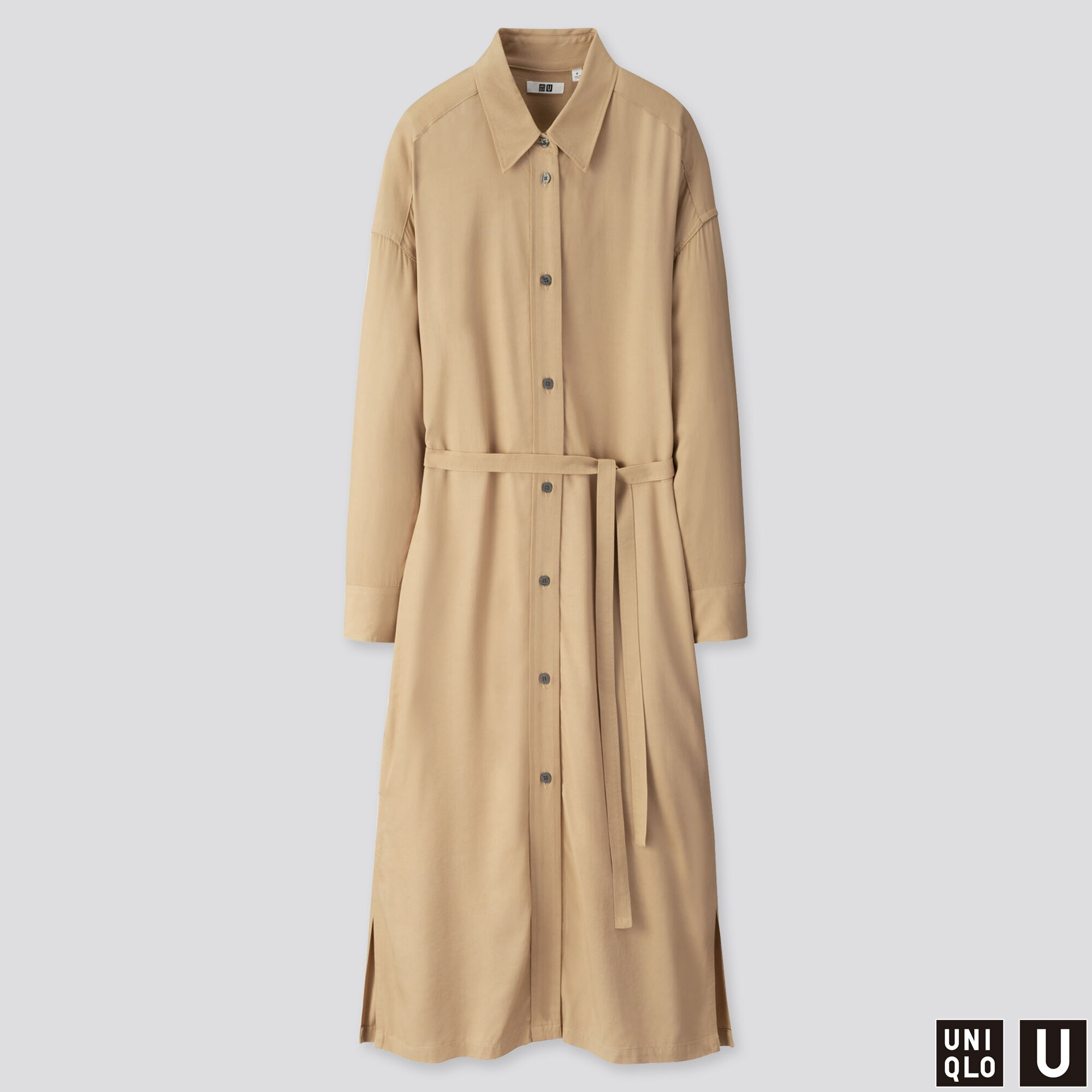 WOMEN U DRAPE TWILL SHIRT LONG-SLEEVE DRESS