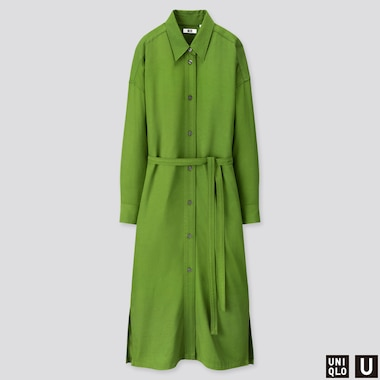 WOMEN U DRAPE TWILL SHIRT LONG-SLEEVE DRESS, GREEN, medium