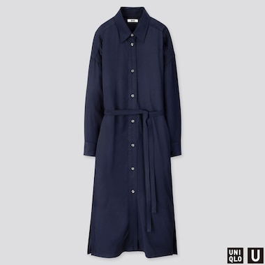 WOMEN U DRAPE TWILL SHIRT LONG-SLEEVE DRESS, BLUE, medium