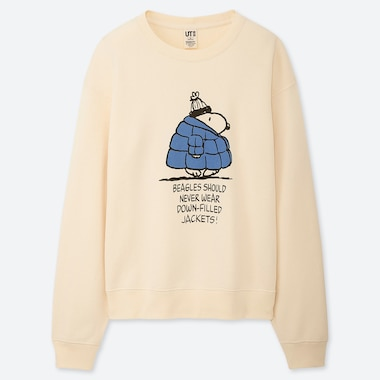 WOMEN PEANUTS LONG-SLEEVE SWEATSHIRT, OFF WHITE, medium