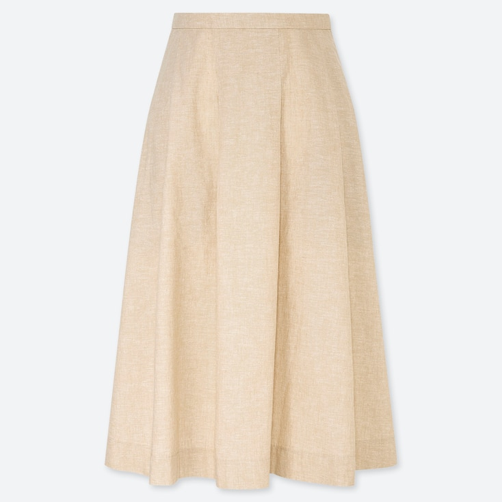 WOMEN LINEN COTTON TUCKED FLARE SKIRT, BEIGE, large