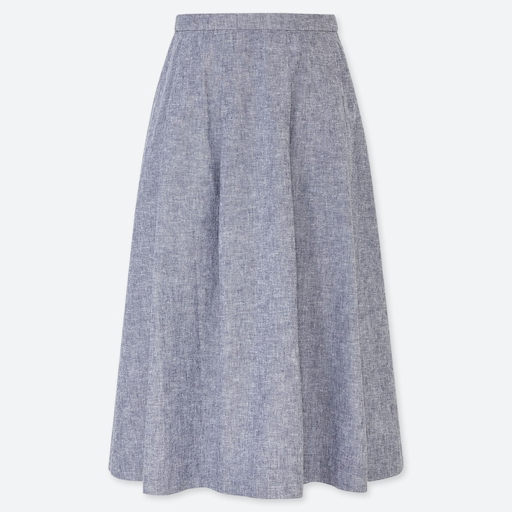 WOMEN LINEN COTTON BLEND HIGH WAISTED TUCKED FLARED SKIRT