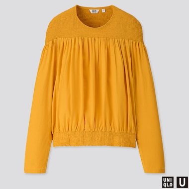 WOMEN U RAYON TENCEL LONG-SLEEVE BLOUSE, YELLOW, medium