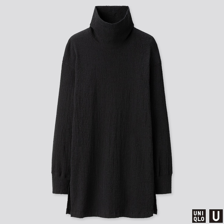 WOMEN U SHIRRING LONG-SLEEVE TUNIC, BLACK, large