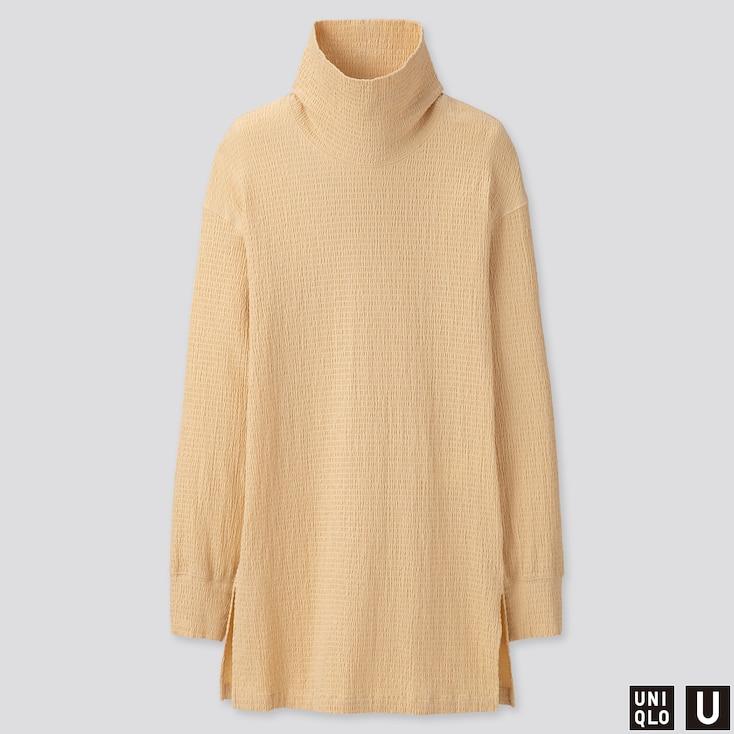 Women U Shirring Long-Sleeve Tunic, Cream, Large