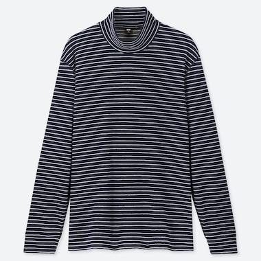 MEN HEATTECH FLEECE STRETCH STRIPED MOCK NECK LONG SLEEVED T-SHIRT