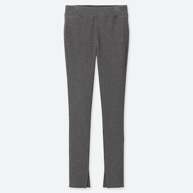 WOMEN RIBBED LEGGINGS PANTS, DARK GRAY, medium