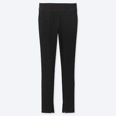 WOMEN RIBBED LEGGINGS PANTS, BLACK, medium