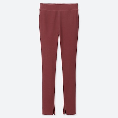 WOMEN RIBBED LEGGINGS PANTS, WINE, medium