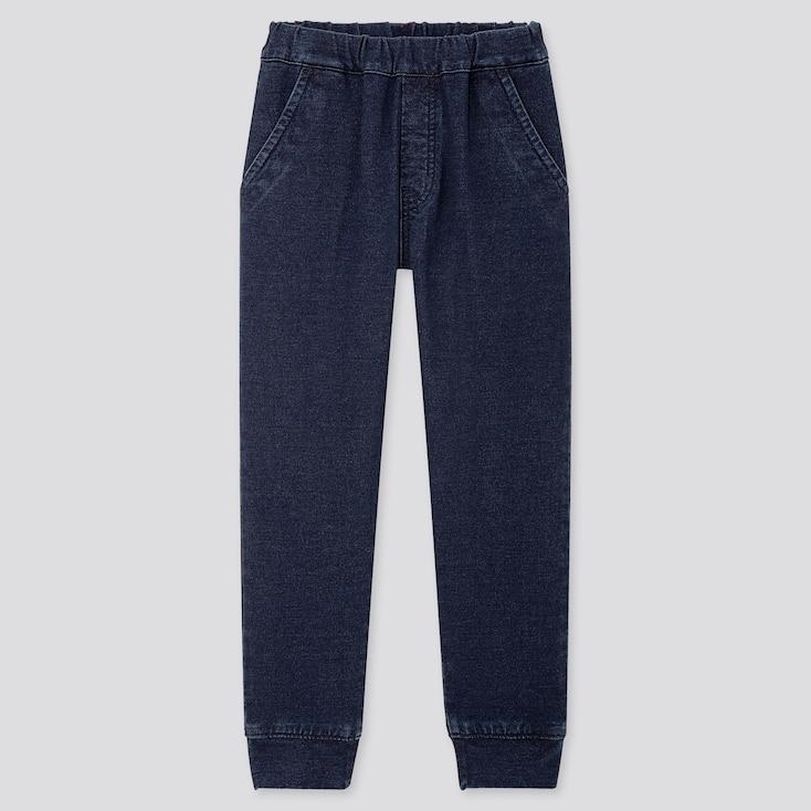 KIDS STRETCH DENIM JOGGER PANTS, BLUE, large