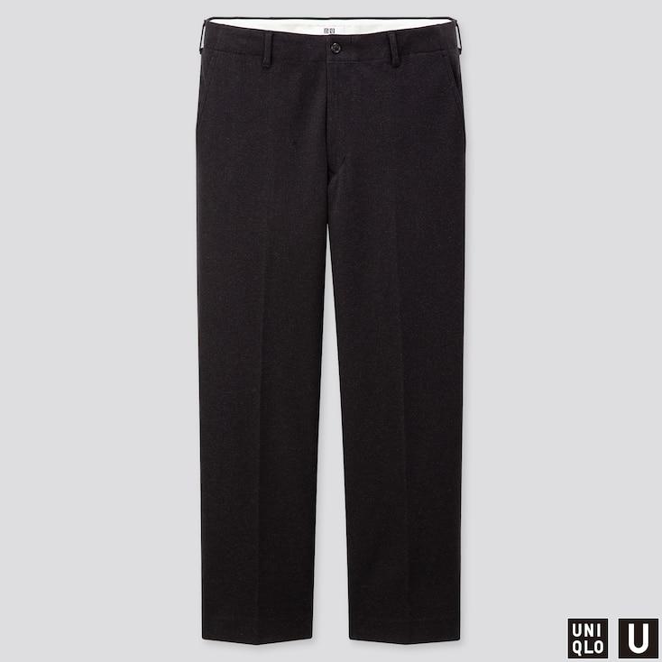 MEN U JERSEY WIDE-FIT STRAIGHT PANTS, DARK GRAY, large