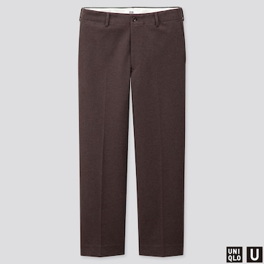 MEN U JERSEY WIDE-FIT STRAIGHT PANTS, DARK BROWN, medium