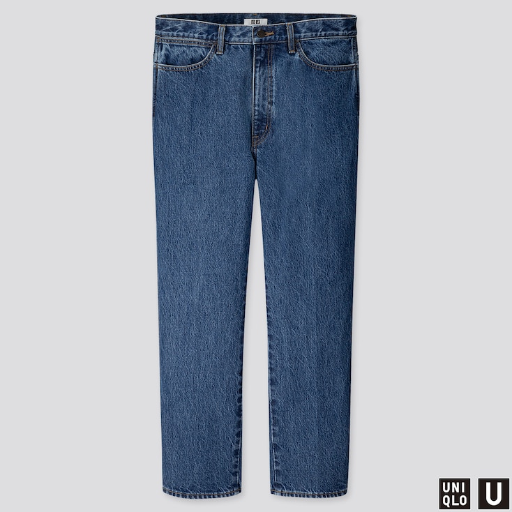 MEN U STRAIGHT JEANS, BLUE, large
