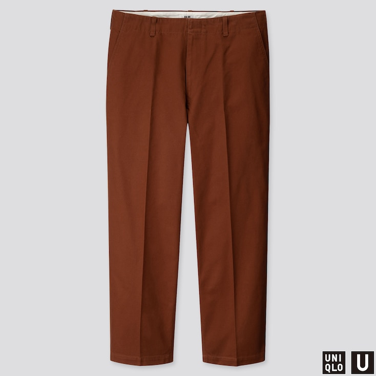 MEN U WIDE-FIT STRAIGHT-LEG PANTS, BROWN, large