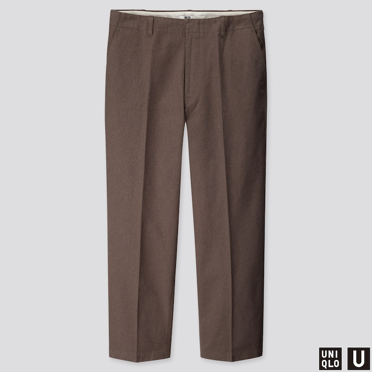 MEN U WIDE-FIT STRAIGHT-LEG PANTS, BROWN, large