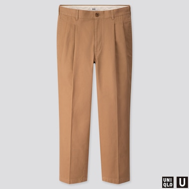 MEN U WIDE-FIT PLEATED TAPERED PANTS, BEIGE, medium