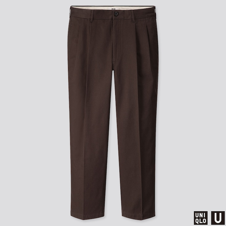 MEN U WIDE-FIT PLEATED TAPERED PANTS, DARK BROWN, large