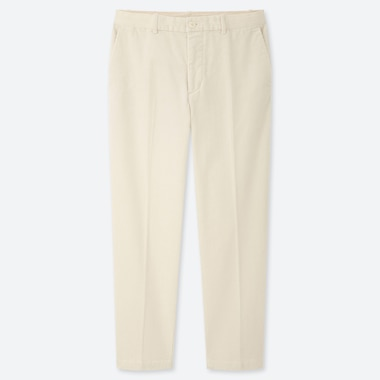 MEN EZY CORDUROY ANKLE-LENGTH PANTS, WHITE, medium