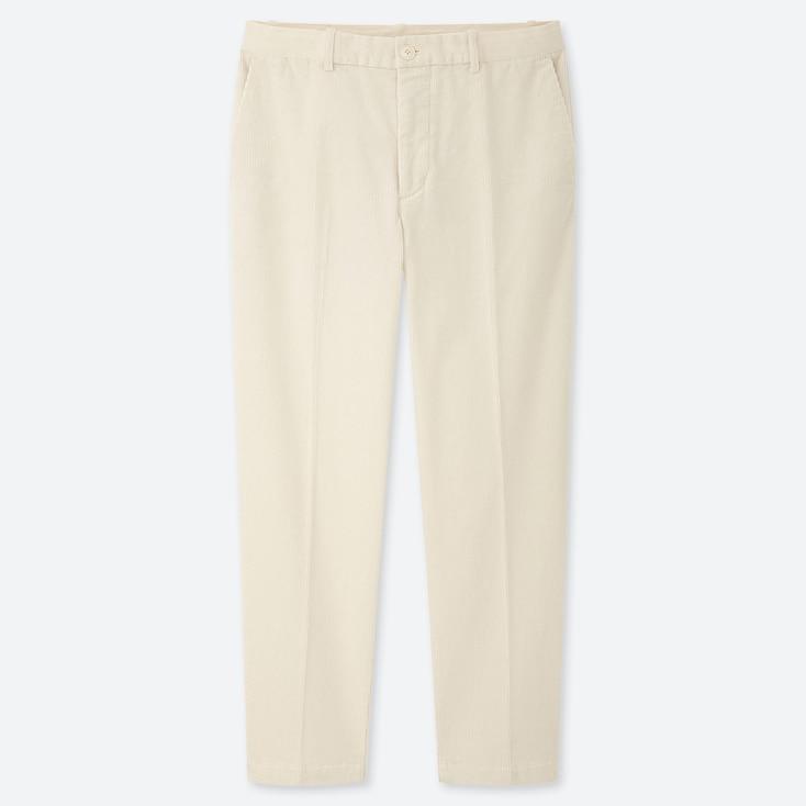 MEN EZY CORDUROY ANKLE-LENGTH PANTS, WHITE, large