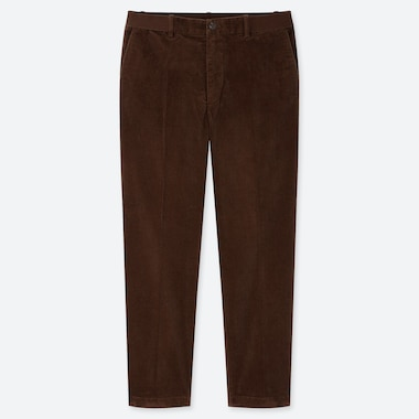 MEN EZY CORDUROY ANKLE-LENGTH PANTS, BROWN, medium