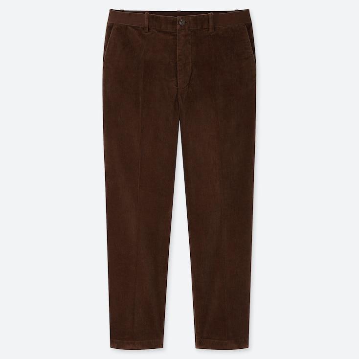 MEN EZY CORDUROY ANKLE-LENGTH PANTS, BROWN, large
