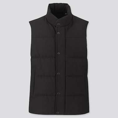 MEN QUILTED PUFFER VEST, BLACK, medium
