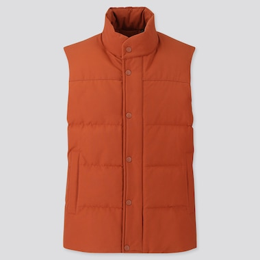 MEN QUILTED PUFFER VEST, ORANGE, medium