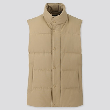 MEN QUILTED PUFFER VEST, BEIGE, medium
