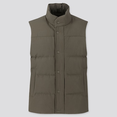 MEN QUILTED PUFFER VEST, OLIVE, medium