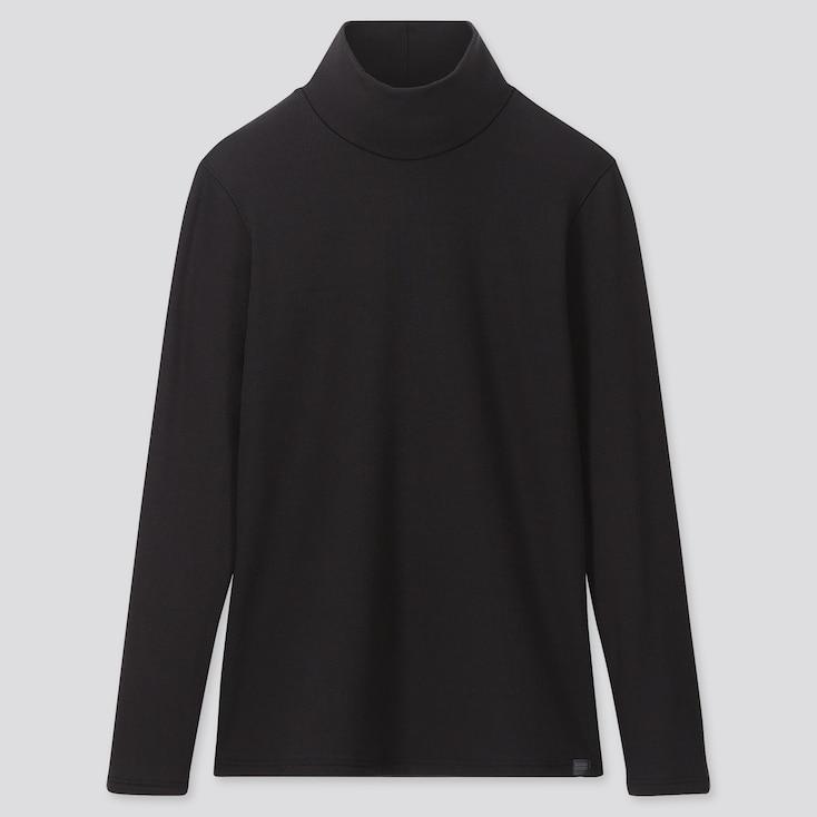 WOMEN HEATTECH ULTRA WARM HIGH-NECK T-SHIRT, BLACK, large