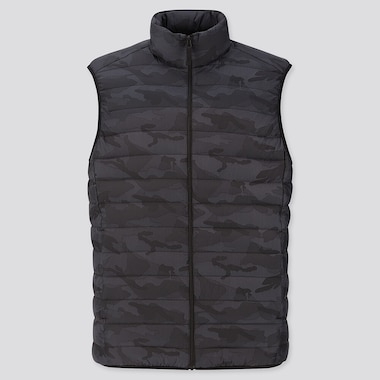MEN ULTRA LIGHT DOWN PATTERN VEST, DARK GRAY, medium