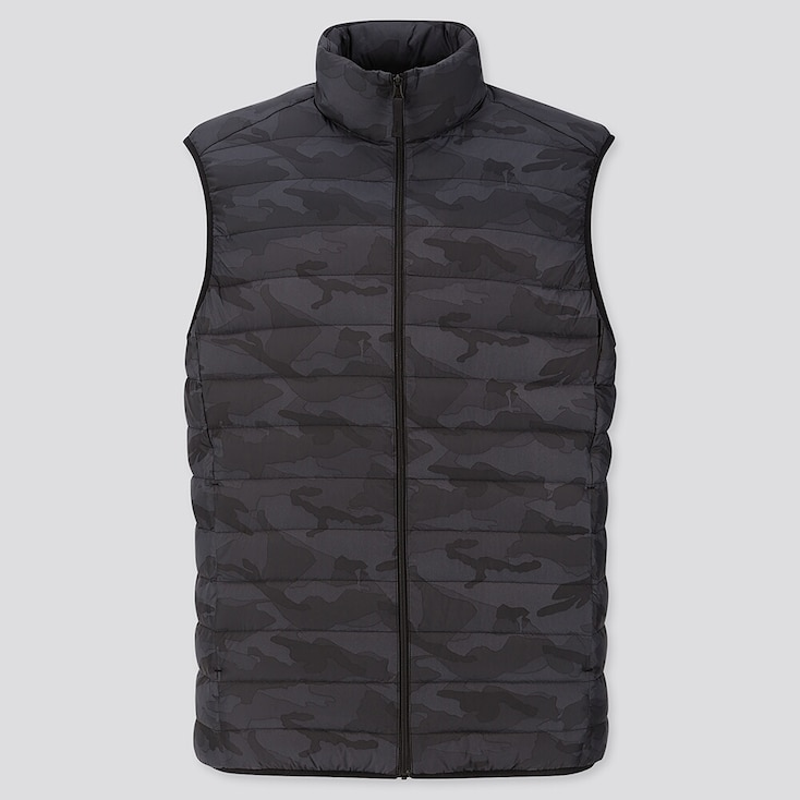 MEN ULTRA LIGHT DOWN PATTERN VEST, DARK GRAY, large