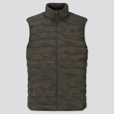 Men Ultra Light Down Pattern Vest, Olive, Medium