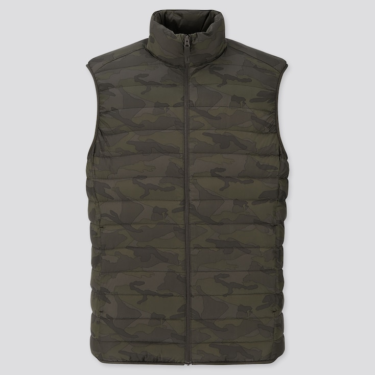 Men Ultra Light Down Pattern Vest, Olive, Large