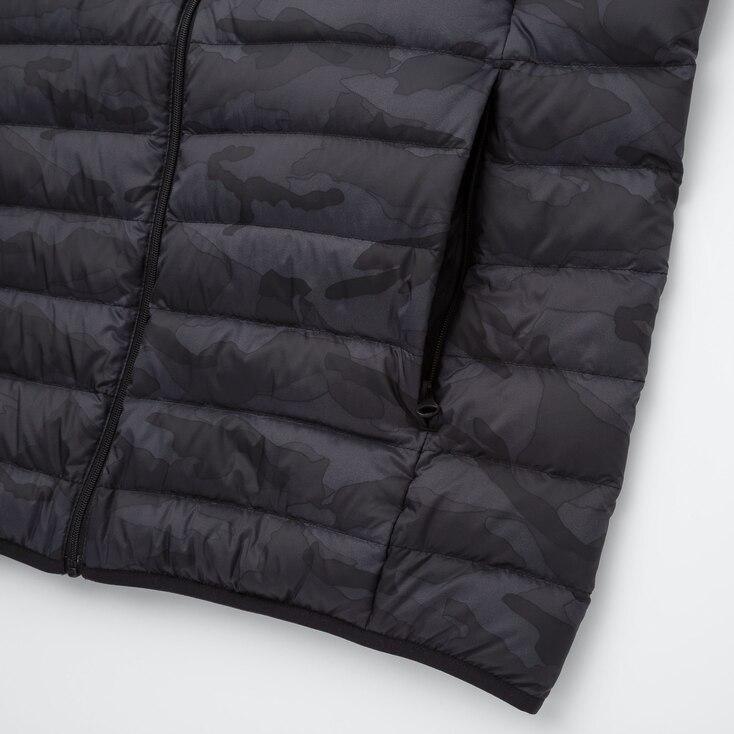 Men Ultra Light Down Pattern Vest, Dark Gray, Large
