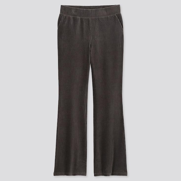WOMEN CORDUROY FLARE PANTS, DARK GRAY, large