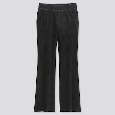 WOMEN CORDUROY FLARE PANTS, BLACK, medium