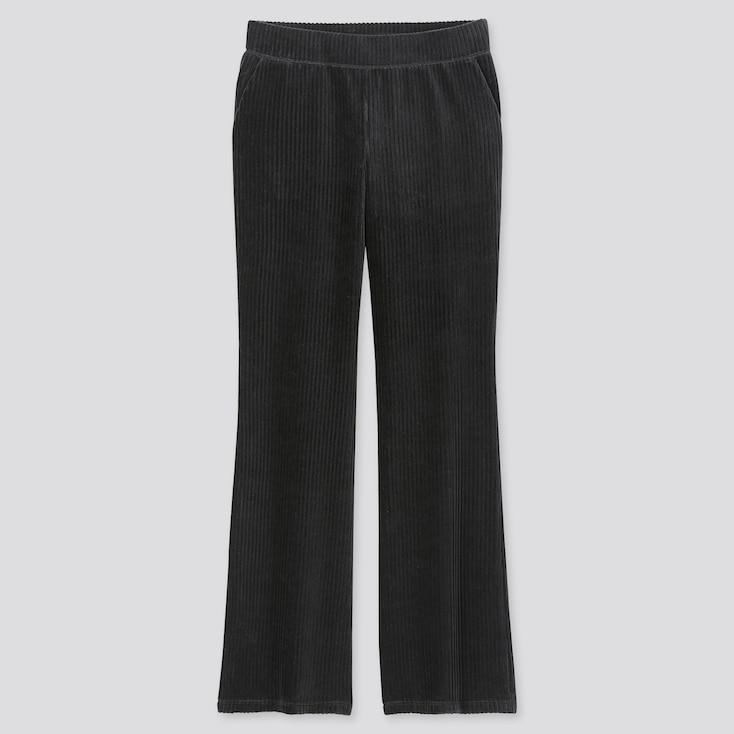 WOMEN CORDUROY FLARE PANTS, BLACK, large