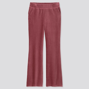 WOMEN CORDUROY FLARE PANTS, PINK, medium
