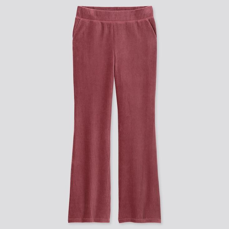 WOMEN CORDUROY FLARE PANTS, PINK, large