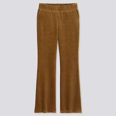 WOMEN CORDUROY FLARE PANTS, BROWN, medium