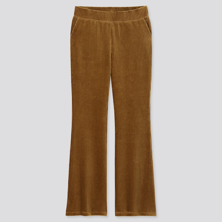 WOMEN CORDUROY FLARE PANTS, BROWN, large