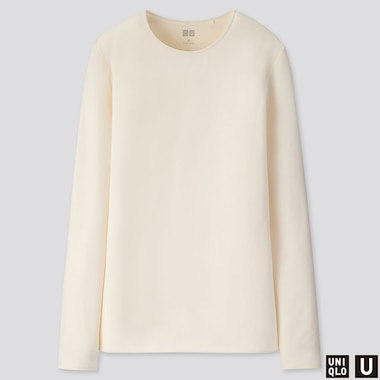 WOMEN U CREW NECK LONG-SLEEVE T-SHIRT, OFF WHITE, medium