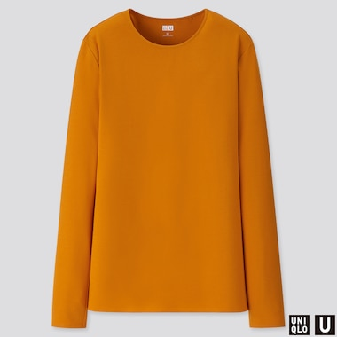 WOMEN U CREW NECK LONG-SLEEVE T-SHIRT, ORANGE, medium